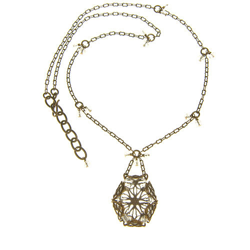 Clear Filigree Wrapped Necklace